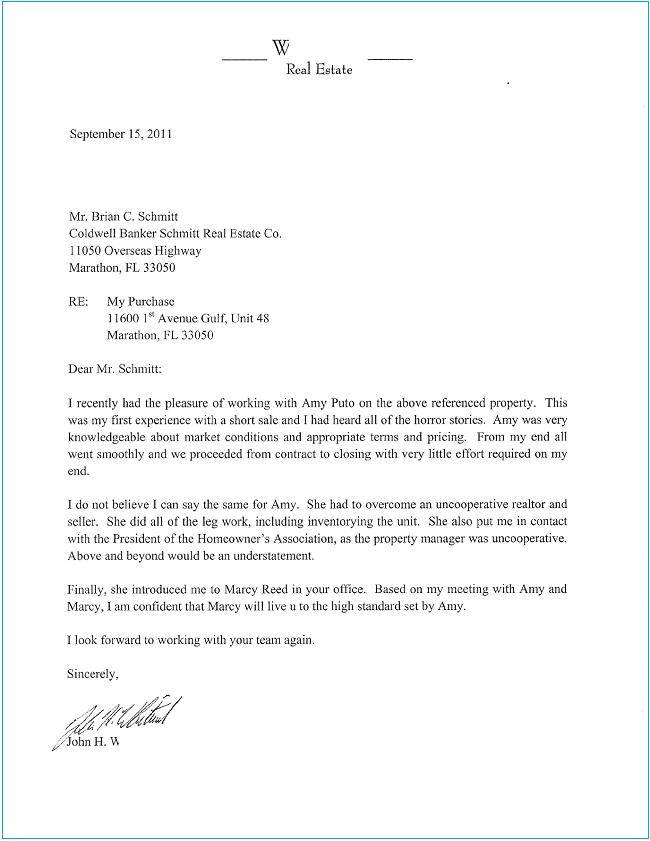 1 Stop Real Estate Reviews Letters Amy Puto Marathon Fl Fl